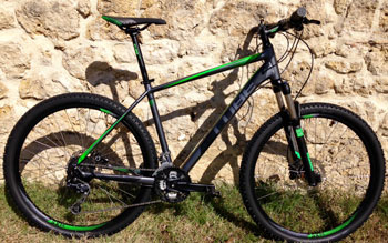 "cycle, cycles et nature : magasin de vente et de reparation de velo a bordeaux, VTT CUBE Analogue 27.5"" Grey n black n green 2015"