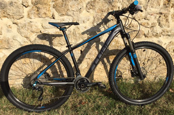 "cycle, cycles et nature : magasin de vente et de reparation de velo a bordeaux, VTT CUBE Attention 27.5"" black n grey n blue 2015"