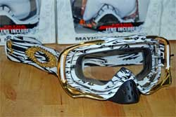 cycle, cycles et nature : magasin de vente et de reparation de velo a bordeaux, lunette et masque oakley mtb, vtt, dh, velo de route, mx, crowbar MX JAMES STEWART SIGNATURE SERIES WHITE FLAMMES GOLD